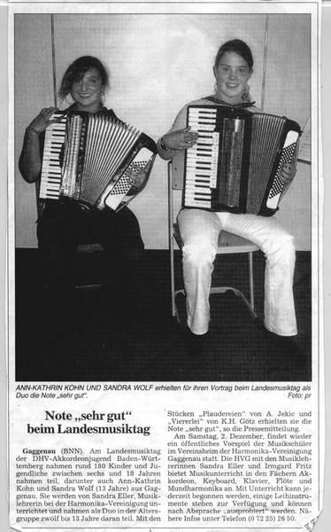 Zwei Musikschülerinnen ausgezeichnet