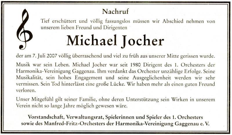 Unser Dirigent Michael Jocher ist tot